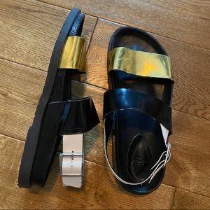 Color Block Sandals w/ Ankle Buckle